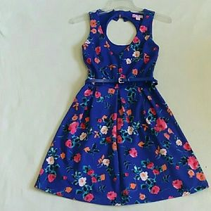 Electric Blue Floral Skater Dress with Bow Accents